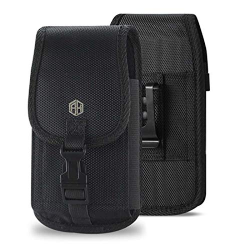 AccessoryHappy Compatible w/iPhone Xs Max XR iPhone 8 Plus,7 Plus,6S+ 6 Plus, OnePlus 6T Rugged Canvas Pouch w/Security Buckle Holster Waist Carrying Hanging Bag Fits Phone with Heavy Duty Case