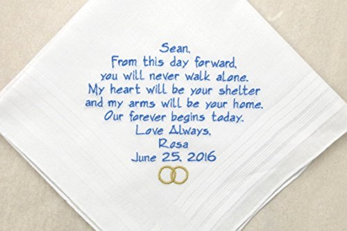 Wedding Gift for Fiancé Groom Future Husband on wedding day From the Bride Future Wife Embroidered Hankerchief Personalized Handkerchief