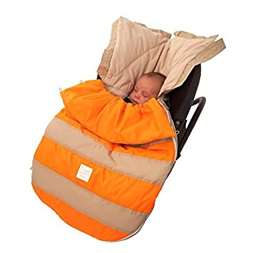 Amazon.com : 07 a.m. Abeja Pod bebé Bunting Bolsa para cochecitos y Car-Asientos con extraíble Panel posterior, Beige / Neon Orange, pequeño / medio : Baby