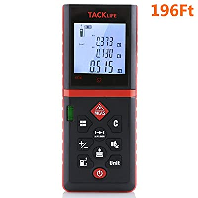 Tacklife Laser Tape Measure 196 Feet Digital Laser Distance Measure with Mute Function Range Finder Digital Tape Measure with Pythagorean Mode, Area& Volume Calculation by Tacklife