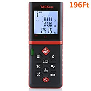 Tacklife Advanced Laser Measure 196 Ft with Mute Function Laser Measuring Device with Pythagorean Mode, Measure Distance, Area and Volume Black&Red-Ideal Father's Day Gift