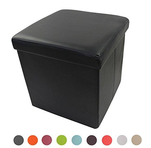Stylehome® Sitzbank Sitzhocker Sitzwürfel Aufbewahrungsbox Fußbank Hocker faltbar belastbar Kunstleder Farbauswahl Größenauswahl 1638-29-Schwarz