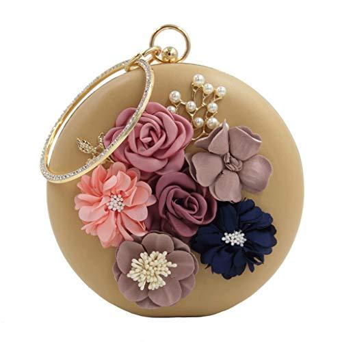 Beaded Cuentas Diamantes Flores DONGLU de 5 de Bolso de Color Lady Tamaño S de Noche Novia Bolso de Redondas 3 qq6gw7vxf