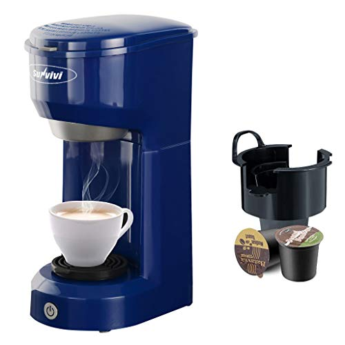 Single Serve Coffee Maker Coffee Brewer Compatible with K-Cup Single Cup Capsule with 6 to 14oz Reservoir, Mini Size, KMC202,Blue