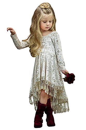 Syktkmx Girls Long Sleeve Empire Waist Pleated Swing Fringe Velvet High Low Midi Dresses -