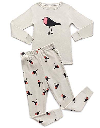 Leveret Kids & Toddler Horse Bird Girls Pajamas 2 Piece Pjs Set 100% Cotton Sleepwear (12 Months-14 Years)