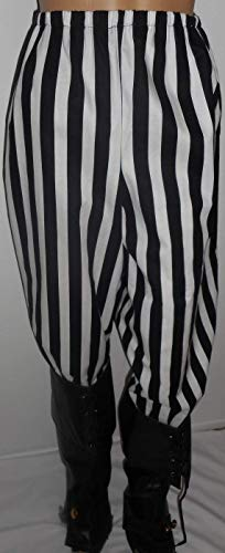 Custom Made Renaissance Costumes - Custom-Made Size Men's,Women's Black and White Striped poly/cotton SCA Renaissance Pirate Pants