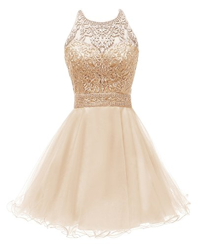 (WDING Short Prom Dresses for Juniors Lace Appliques Tulle Homecoming Dress Champagne,2)