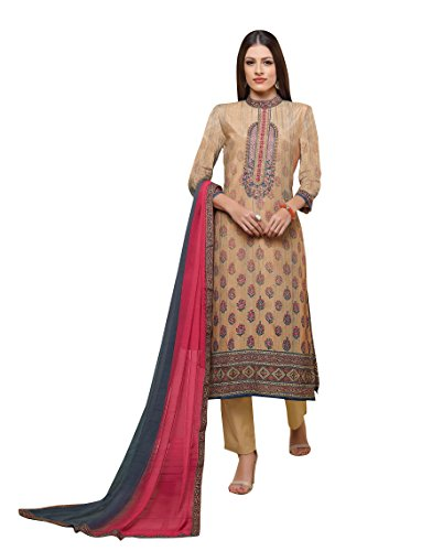 - Traditional Beige Colored Pure Silk Salwar Suit