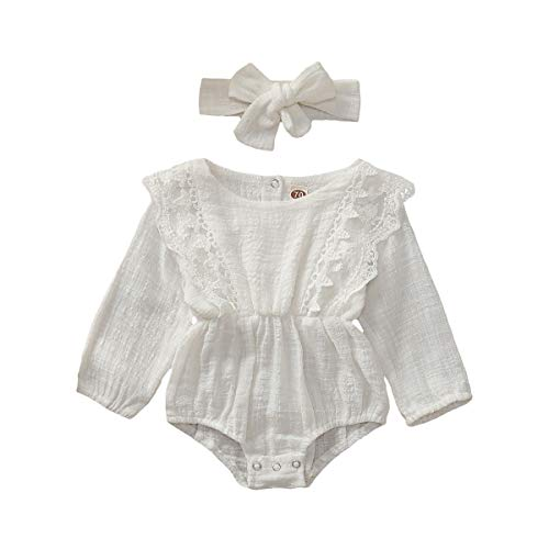 ZOELNIC Infant Girl Linen Romper Baby Girls Sleeveless Lace Jumpsuit + Bow Headband Toddlder Kids Overalls Summer Outfits (White - Long Sleeve, 12-18 Months) (Bow Tech Shirt)