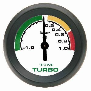 TIM 1 Bar Turbo Boost Gauge 52mm with White Dial: