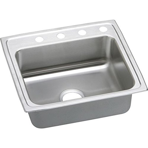 Pacemaker Bar Sink (Elkay PSR25214 4-Hole Gourmet Pacemaker 25-Inch x 21-1/4-Inch Single Basin Top-Mount Stainless Steel Kitchen)