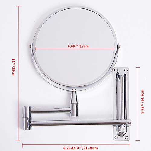 ABYSTEPS Decorative Mirrors - Wall Mirror Extend Double Side Bathroom Cosmetic Makeup Shaving Faced Rotatalbe 7