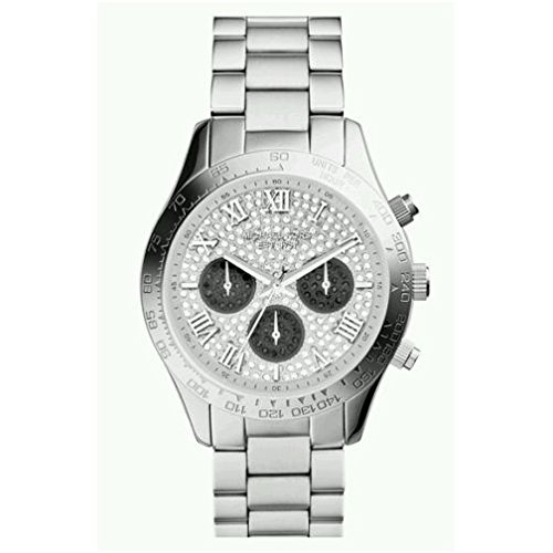 Michael Kors MK5977 Women's Layton Pave Crystals Dial Silver Tone Stainless Steel Bracelet Chronograph Watch
