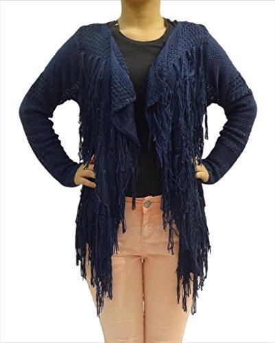 Mujeres Camiseta de manga completa franja de la borla Netted Cardigan Chaleco Tamaño 8 10 12 14 Azul