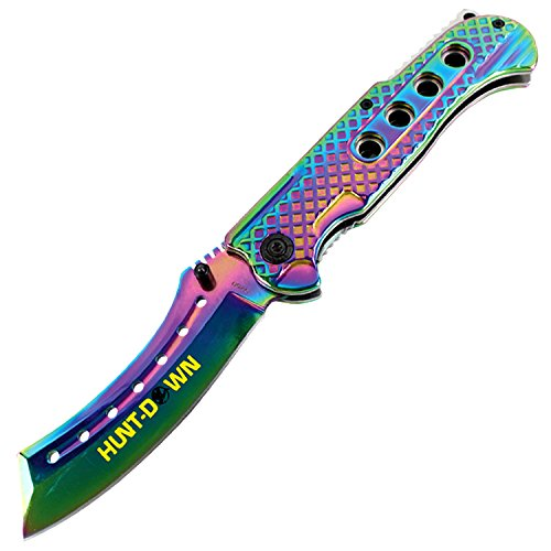 Hunt-Down-9-Spring-Assisted-Folding-Knife-Slotted-Edge-Rainbow-Blade-Handle