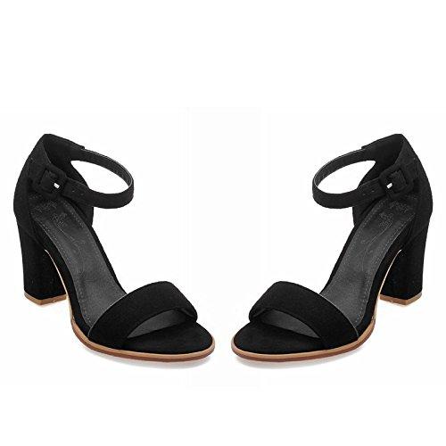 ZHZNVX Verano nuevo dulce gruesa con punta abierta de la boca baja hebilla de tacón alto del anillo del pie correas sandalias de las mujeres Black