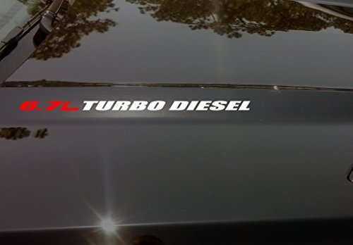 (Red 6.7 Liter Matte Black Turbo Diesel Hood Cowl Vinyl Decal)