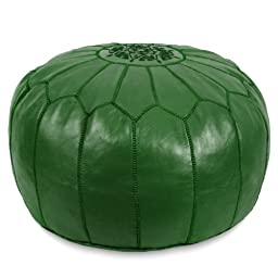 Ikram Design Moroccan Pouf, 20-Inch by 13-Inch, Dark Green