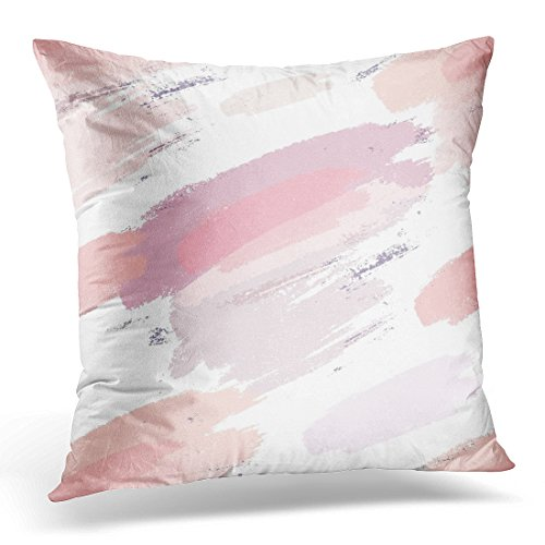 Sdamas Decorative Pillow Cover Gray Blush Abstract Pink Ink Throw Pillow Case Square Home Decor Pillowcase 16x16 Inches