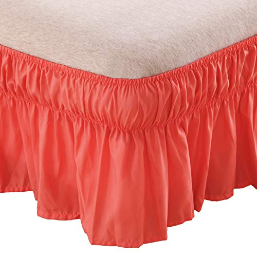 AYASW Bed Skirt-14 Inch Drop Dust Ruffle Three Fabric Sides Wrap Around Ruffled (Queen/King Coral) Brushed Microfiber 1500 Adjustable Elastic Easy Fit