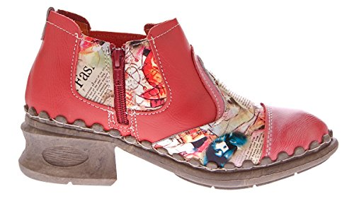 Damen Leder Comfort Knöchel Schuhe TMA 5195 Halb Schuhe Schwarz-Grau Blau Weiß Rot Grün Blockabsatz Boots Rot