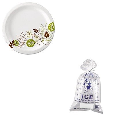 KITDXEUX9WSPKIBSIC1120 - Value Kit - Ice Bg 8 Lb Penguin Logo w/ Twist Ties 1000 (IBSIC1120) and Dixie Pathways Mediumweight Paper Plates (DXEUX9WSPK) by Inteplast Group
