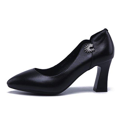 Noir Jqdyl Talons hautsChaussures simples Chaussures femme Talon rugueux Tempérament Pointu