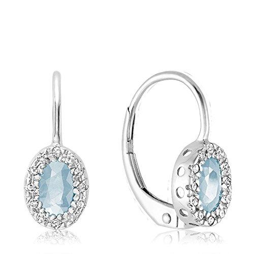 10K Gold Diamond and Aquamarine Earrings (0.08TDW H-I Color,I1 Clarity) (aquamarine) by Jewels by Erika