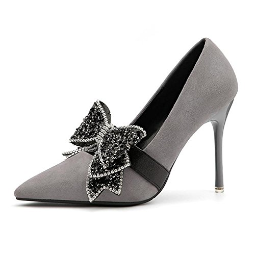 Gome-z 2018 Spring Butterfly Party Dress Evening High Heels Shoes Fashion Pointed Toe Sexy Thin Heel Female Shoe Gray 6