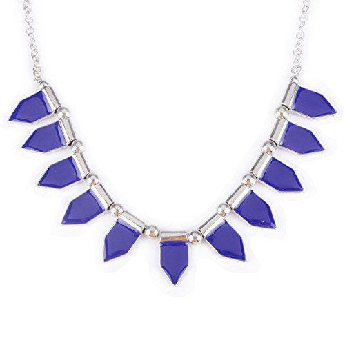 Silver-Tone Alloy Epoxy Leaf Pattern Chain Necklace 18 Inches Fashion Jewelry, New Silk ()