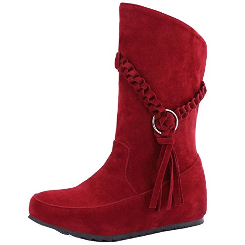 COOLCEPT Women's Fashion Increasing Heels Western Ankle High Boots Red sp7Tb0rGr