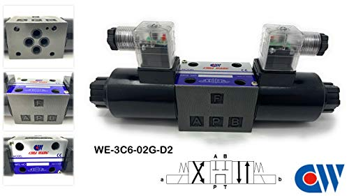 """New - CHIA WANG Solenoid Operated Directional Control Valve WE-3C6-02G-D2-30, Spring Centered 3 Positions/ 4 Ways, 4500 PSI, DC 24, 1/4"""" Sub-Plate Mounting Size, Made in Taiwan"""
