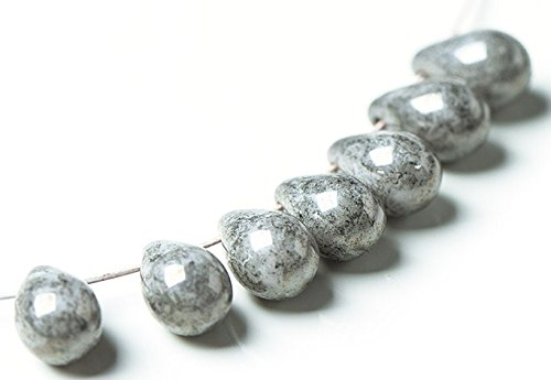 - 20 pcs Czech Glass Smooth Teardrop Beads 9x6mm - Opaque Gray