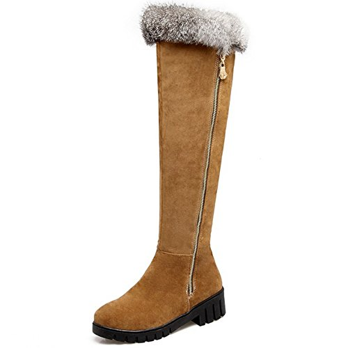 Women Fashion Warm Boots Zipper Long KemeKiss Yellow Lining Half 5 q751nqdx