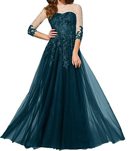 A Ballkleider Lang Tuell Partykleider linie Damen 4 Brautmutterkleider 3 Promkleider Rock Charmant Abendkleider Blau Langarm Dunkel vRYwY7