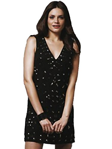 French Connection Metal Faceted-Bead Embellished Dress, Black, Size 6