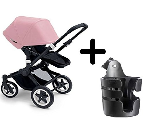 Bugaboo 2015 Buffalo Stroller Complete Set in Black/Soft Pink Canvas Fabric Set + Bugaboo Cup (Bugaboo Holder)