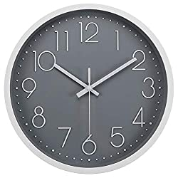 JoFomp Silent Wall Clock, 12 Non-Ticking Quartz Battery Operated Decorative Wall Clocks, Modern Style for Living Room Bathroom Kitchen School Office - Thicken ABS Frame HD Glass Cover (Grey)