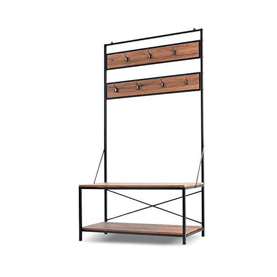 charaHOME Coat Rack with Storage,Free Standing Industrial Clothes Rack,Entryway Organizer Hall Tree,Entryway Bench with Coat Rack with 2 Environmental P2 MDF Board Multifunctional,Sturdy Metal -  - hall-trees, entryway-furniture-decor, entryway-laundry-room - 41QUXnIxqoL. SS570  -