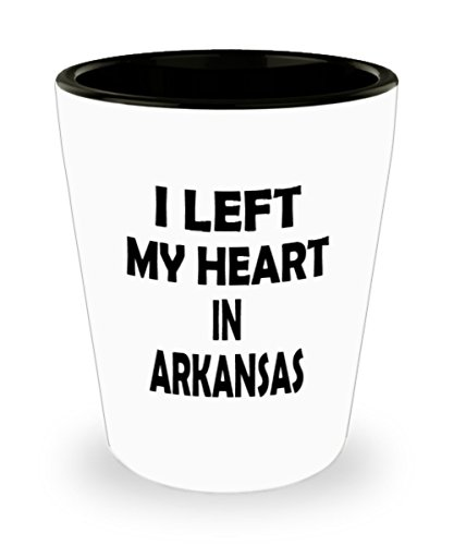 Funny Arkansas Gifts White Ceramic Shot Glass - I Left My Heart In - Best Inspirational Gifts and Sarcasm