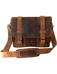 Handolederco. BARNY Buffalo Leather Messenger Satchel Laptop Briefcase Mens Bag Crazy Vintage Leather Messenger...