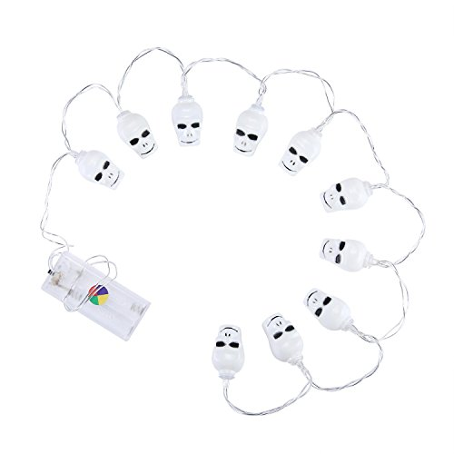 KOBWA Halloween Skull String Lights,Hanging Decor Skeleton Props,1.2meters 10LED Mode Ghost Eye String Lamp,Battery Power Lantern Holiday Outdoor Yard Scary Horror Party Bar Decor Multicolor,Cheap! -