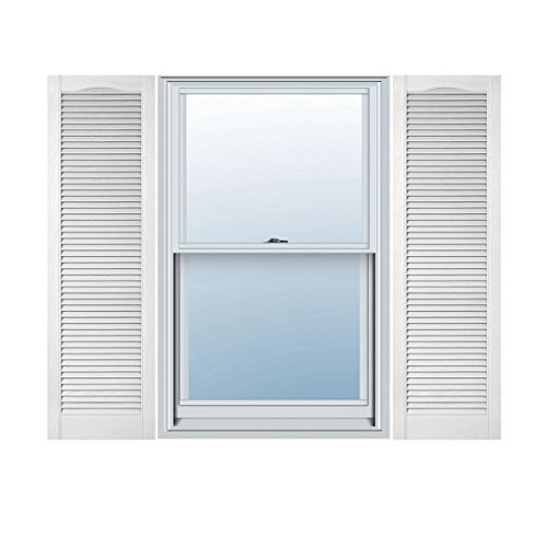 """Ekena Millwork LL5C14X06100BW Custom Cathedral Top All Louver, Open LouverShutter (Per Pair)14 1/2""""W x 61""""HBright White"""