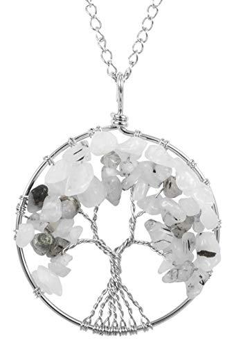 Top Quality Tree of Life Chakra Pendant Necklace Natural Black Quartz Rutilated Gemstone Chakra Jewelry 26