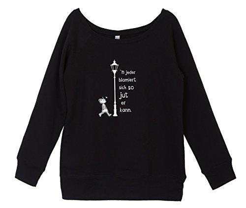 Sweatshirt Damen mit coolem Berlin Spruch - blamiert - vom Label SPREEklamotte / Pullover Langarm / schulterfrei u-boot-ausschnitt Frauen , Winterpulli Berlin - schwarz XL