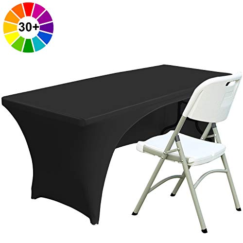 ABCCANOPY 30+ Colors Spandex Table Cover 6 ft. Fitted Polyester Tablecloth Stretch Spandex Tablecover-Table Toppers(Open Back Black) (Custom Covers Table Made)