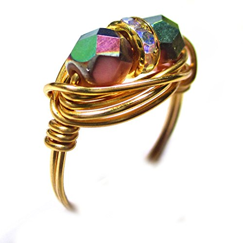 Fire Pink Coral Czech Glass Gold Wire Wrap Ring