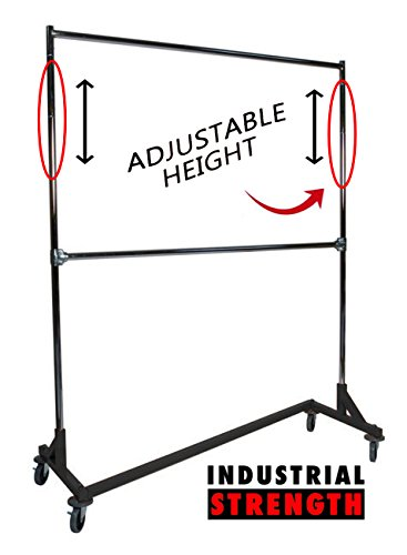 Industrial Strength Z Rack with Add-On Hangrail and Built-in Height Extensions from Only Hangers