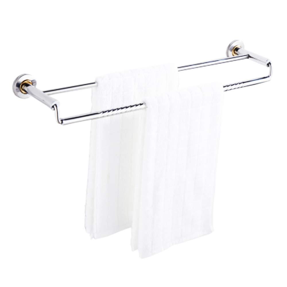 Thickening Double Towel Bar Holder Wall Mounted Bathroom Towel Rail Storage Rack Bathroom Towel Shelf 304 Stainless Steel Hanging Towel Dual Hanger, 2 Bar (50cm / 19.7'')